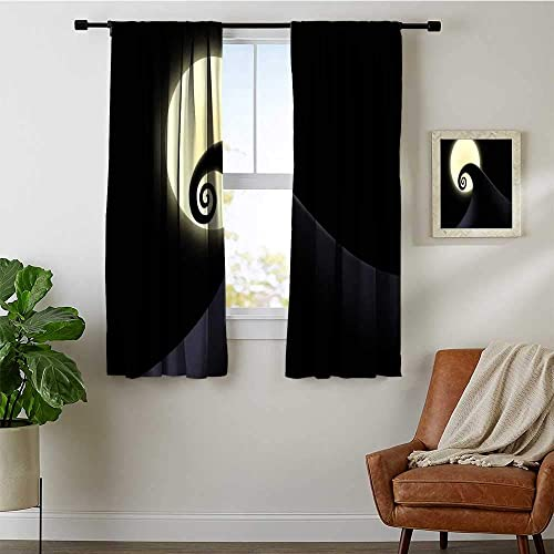 Reviewed: Purseroom Decor Waterproof Window Curtain 72×63 inch Nightmare Before Christmas Moonlight 01 Drapes Thermal Insulated Panels Home Decor