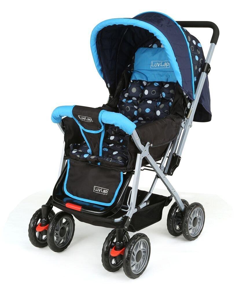 luvlap sunshine baby stroller pram (black and blue)) amazonin baby -