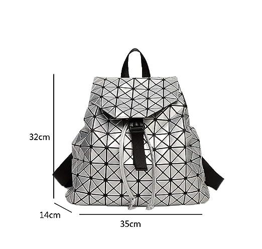 924896496a8d4 Deaman Damen Groß Reise Backpack Einfarbig Lackleder Daypacks Mode  Geometrie Muster Rucksack Faltbar Pailletten Rucksäcke (Schwarz)   Amazon.de  Koffer