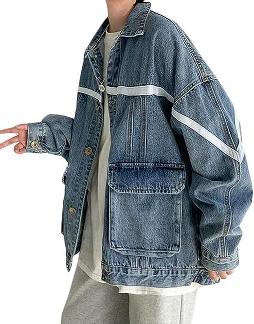 [YYQ-SHOP]デニムジャケット メンズ ゆったり アウター 長袖 デニム ジージャン 綿 カジュアル ジャケット 大きいサイズ ストリート系 秋 ファッション