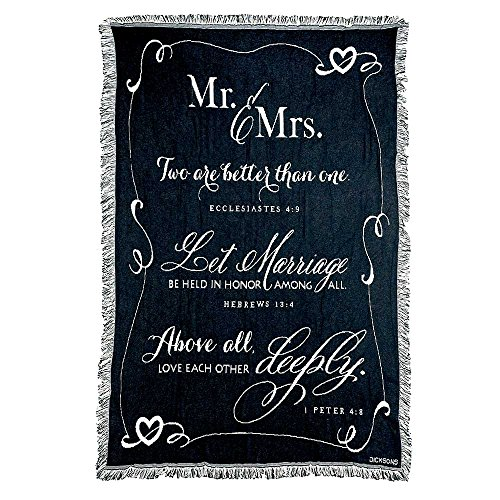 Wedding Blanket - Mr. and Mrs. 1 Peter 4:8 Black and White 52 x 68 All Cotton Tapestry Throw Blanket
