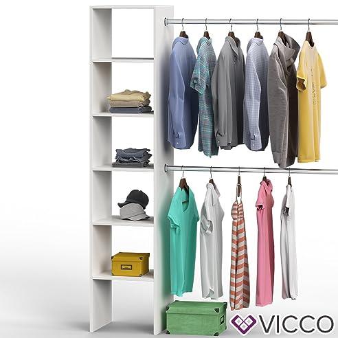 VICCO Kleiderschrank VISIT 190 X 140 Cm Weiß Sonoma Eiche   Offen Begehbar  Kleiderständer Garderobe Diele