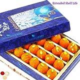 Ghasitaram Gifts Rakhis for Brother Rakhi Sweets - Motichoor Laddoo Box (200 Gms) with Rudraksh Rakhi