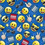 Emoji Fabric By the Yard Emoji Cool Blue Cotton Fabric By The Yard