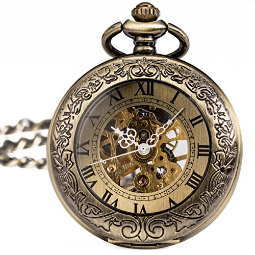 ManChDa® Special Magnifier Mens Pocket Watch Half Hunter Roman Numerals Antiqued Copper Fob Pendant With Chain + Gift Box