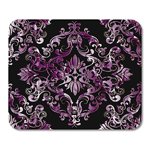 Boszina Mouse Pads Pink Damask Black Floral with Antique Violet Baroque Flowers Scroll Leaves Patterned Ornaments Design Mouse Pad for notebooks,Desktop Computers mats 9.5