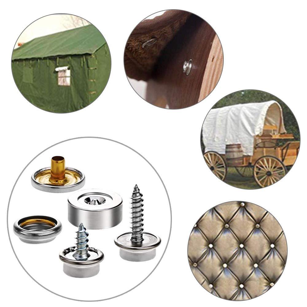 KINDPMA 153 PCS Bottoni a Pressione Vite Bottoni Automatici a Pressione in Metallo per Cucire Vestiti Pelle Teloni Nautica Fai da Te con 3 Strumenti di Installazione Argento