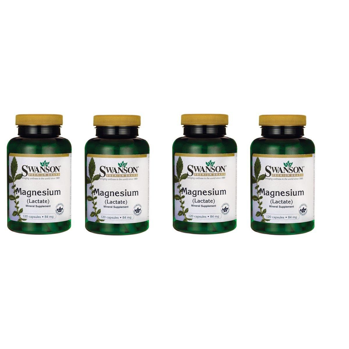 Swanson Magnesium (Lactate) 84 Milligrams 120 Capsules 4 Pack