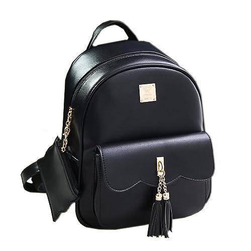 Yimoji PU Leather Backpack Girls College Student School Bag Women Travel  Rucksack (Black) df609aec03223