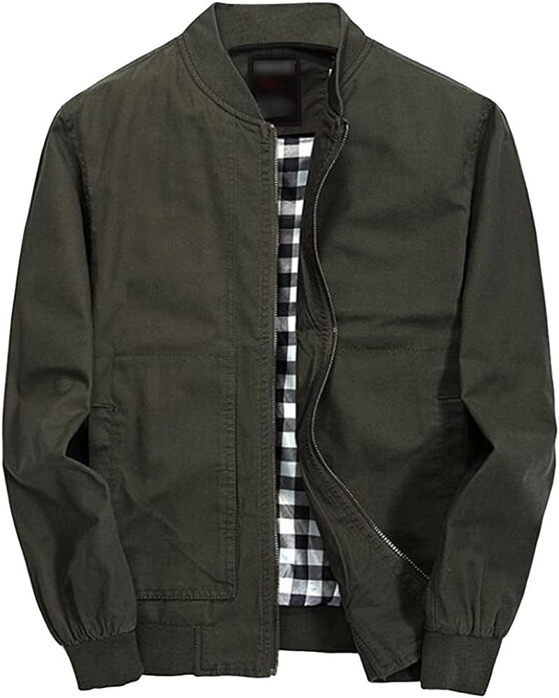 4bf279826 Men's Jacket Lightweight Casual Cotton Full Zip Windbreaker Bomber Jackets