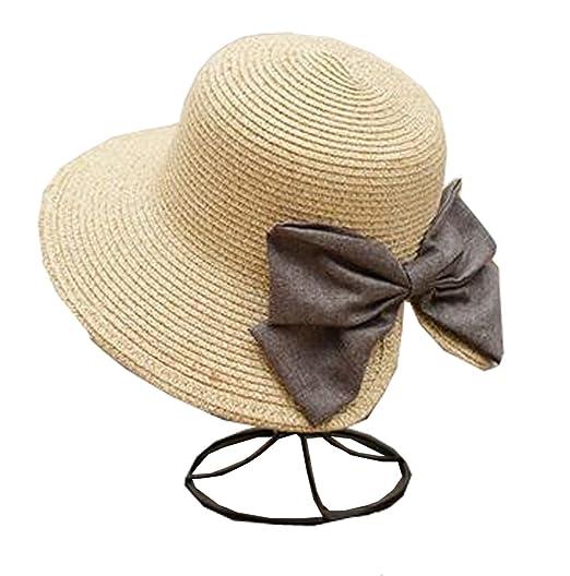 f8cf6bc2032 Tourequi Womens Big Bowknot Straw Hat Foldable Roll up Sun Hat Beach Cap  UPF 50+