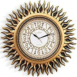 Wall Clocks Clocks Clock Living Room Modern Creative Personality Fashion Mute Clock European Shaped Retro Decorative Sun Wall Hanging American Clock Mantel Clocks (Color : Gold, Size : 4747cm)