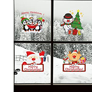 Syksdy Christmas Snowman Decorations Stickers Window Glass Door Stickers  Shops Restaurant Shop Window Self Adhesive