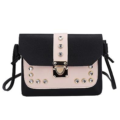 5327b0508c1 Womens Shoulder Bags,Ladies Hit Color Rhinestone Shoulder Bag Messenger  Satchel Tote Crossbody Bag PU Leather Small