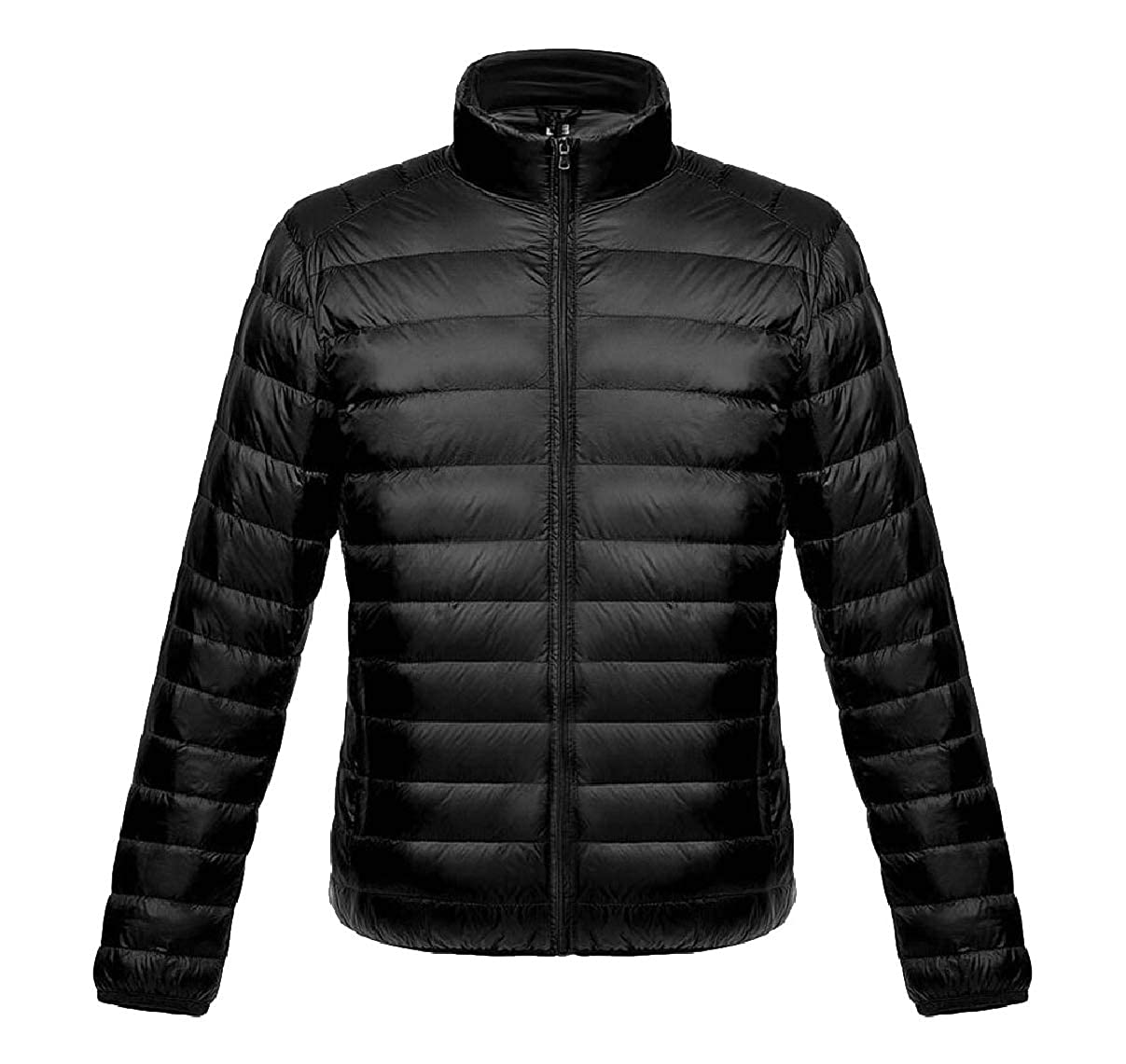 ZXFHZS Mens Solid Zipper Stand Collar Ultra Lightweight Down Jacket Coat