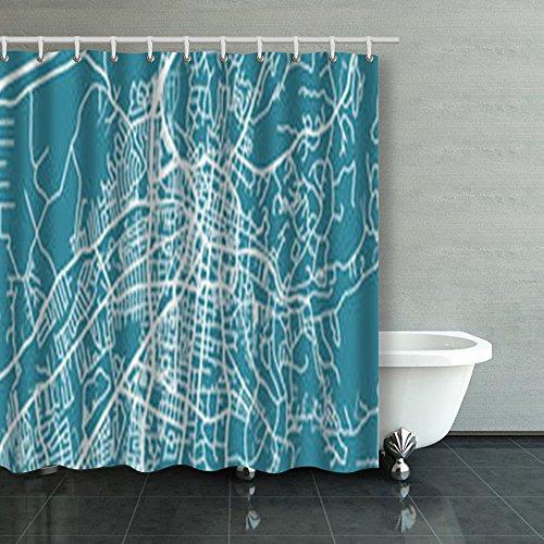 Santa Fe Shower Curtain Hooks - Detailed Map Santa Fe Scale Design Design Shower Curtains Custom 66Wx72L Inch Waterproof Polyester Fabric Home Bathroom Decor Bath Decorative Curtain