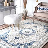 nuLOOM Dark Blue Traditional Persian Vintage Rug, 5 Feet by 7 Feet 5 Inches