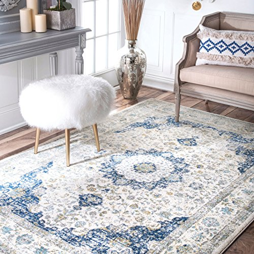 nuLOOM Traditional Vintage Distressed Persian Blue Area Rugs, 8' Round - Transitional 8' Square Rug