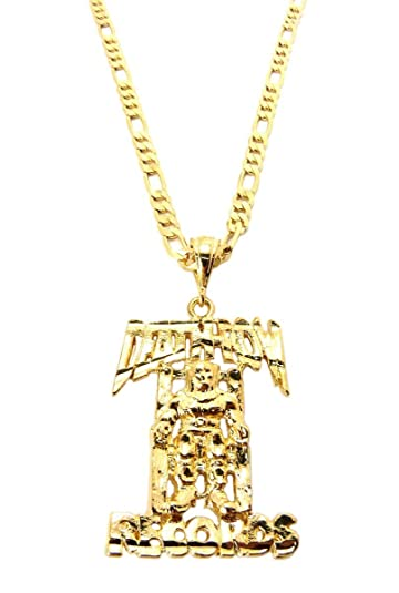 Jotw gold death row records small pendant with a 24 inch 5mm figaro jotw gold death row records small pendant with a 24 inch 5mm figaro chain necklace aloadofball Choice Image