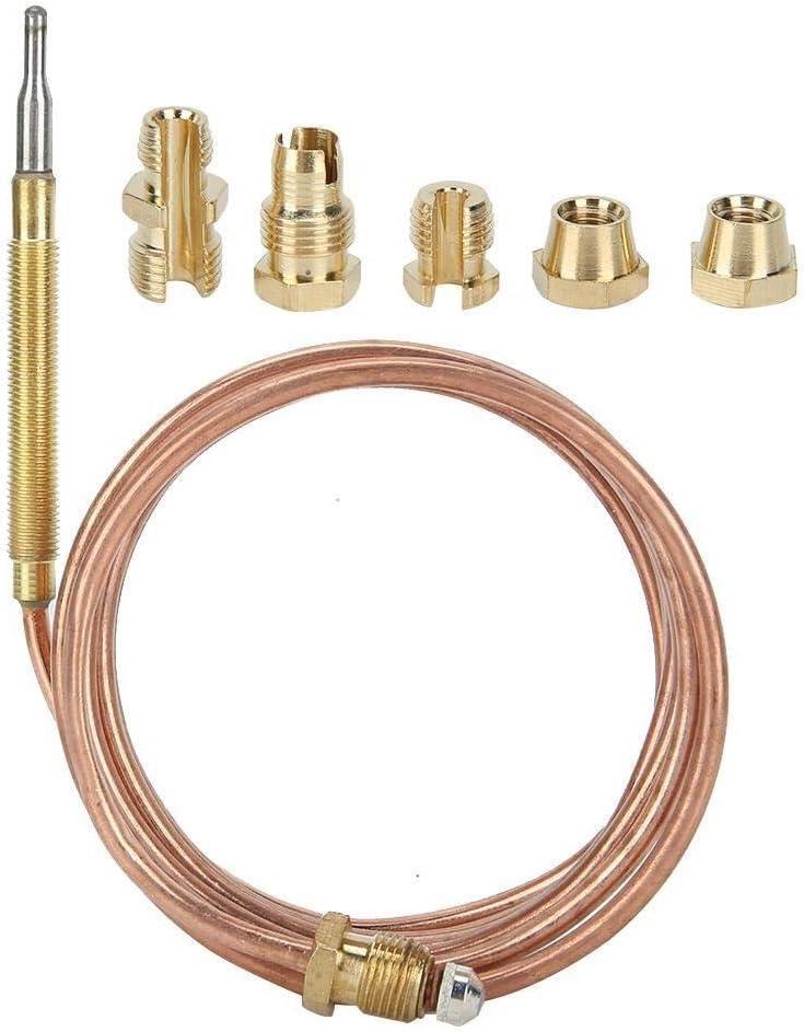 Dgtrhted Detección de la sonda de termopar Cocina de Gas Kit de Equipo de Protección de la Temperatura del Calentador con la Tuerca (1500mm)