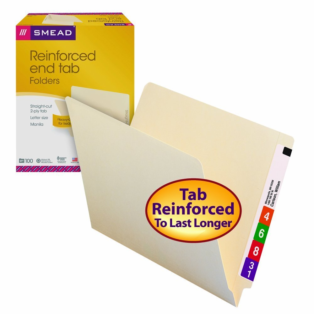 Smead 24110 Shelf Master DFhtLc Straight Cut Reinforced End Tab File Folder, Letter Size, Manila, 100 Count (Pack of 5)