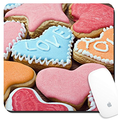 Luxlady Suqare Mousepad 8x8 Inch Mouse Pads/Mat design IMAGE ID: 24759757 Valentine cookies with the words I love you on the table