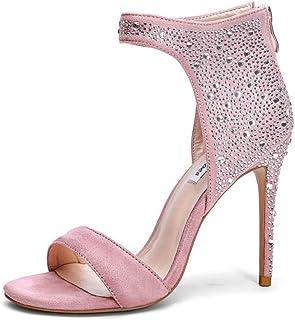 Donne Open Toe Sandali 2018 Estate Nuovo Tacco Alto Temperamento Elegante Moda Strass Rosa Taglia Grande