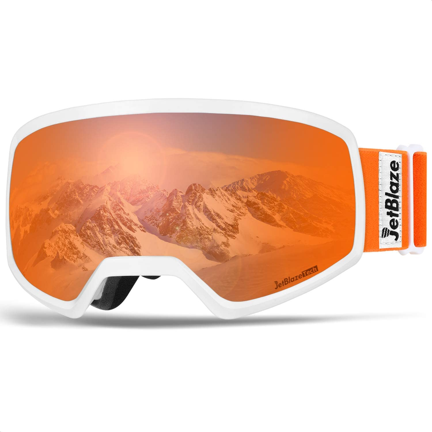 JetBlaze Ski Goggles, OTG Anti-Fog Snow Goggles, UV Protection Spherical Snowboard Goggles for Men Women Youth Adult