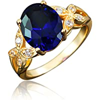BLOOMCHARM My Vow 18K Gold Plated Cubic Zirconia Engagement Wedding Ring, Gifts for Women Girls