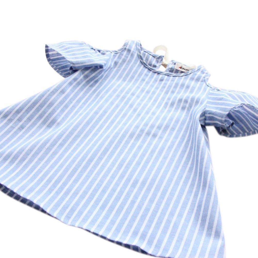 dd3fb4c00 Amazon.com: BOBORA Toddler Baby Girl Summer Off Shoulder Stripe Dress Outfit:  Clothing