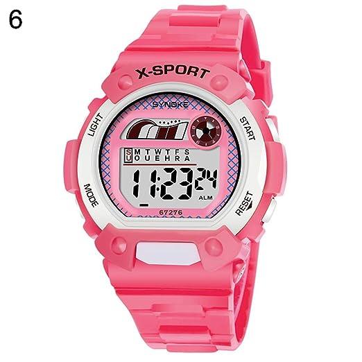 Antrygobin - Reloj Digital Luminoso con Alarma y Fecha para niños Rosa: Amazon.es: Relojes