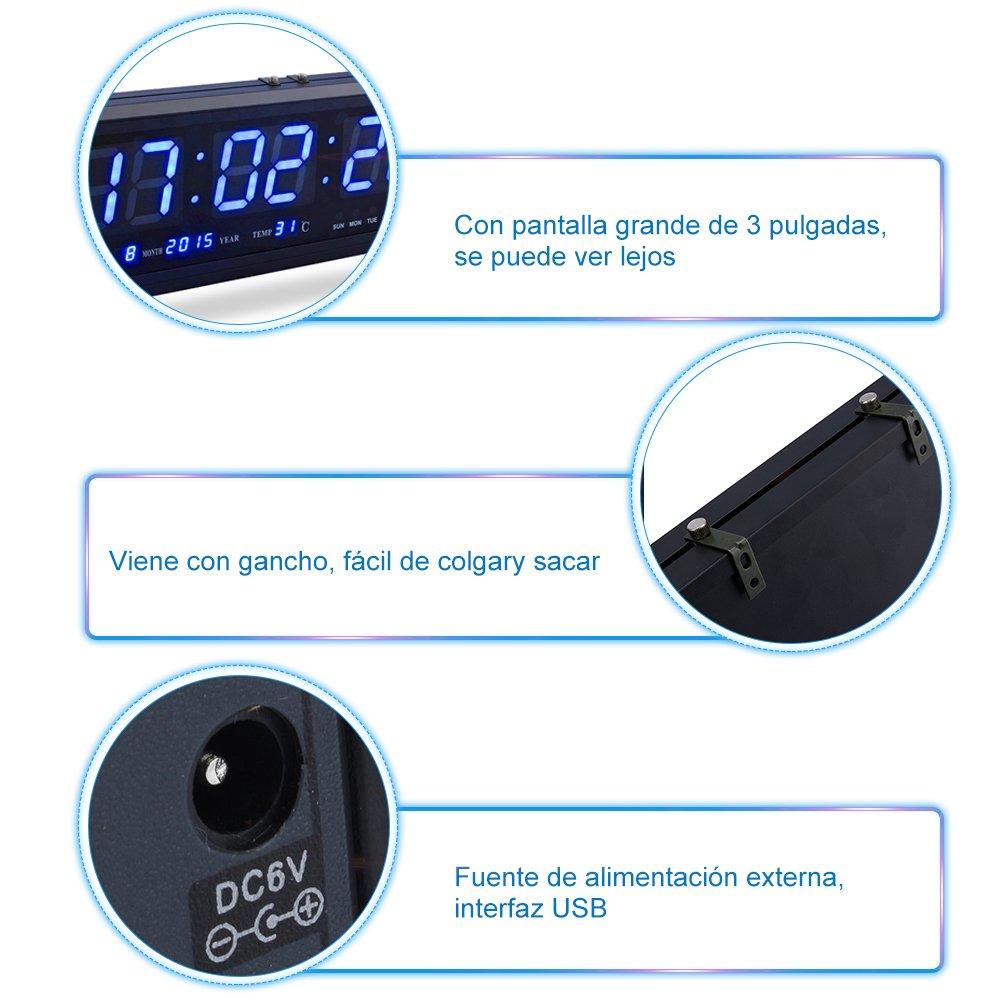 Fdit LED Reloj Digital Grande con Tiempo Calendario Fecha y Temperatura Indicación Reloj de Escritorio para Hogar Oficina Restaurante Aeropuerto Banco ...