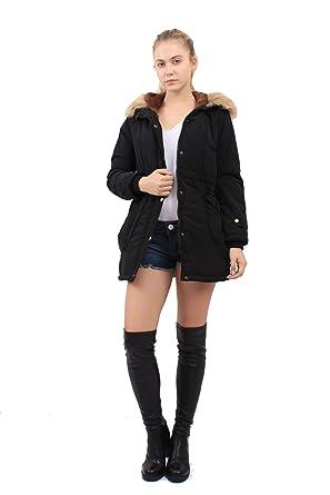 OMONSIM Women Thicken Warm Winter Coat Hood Parka Overcoat Jacket ...