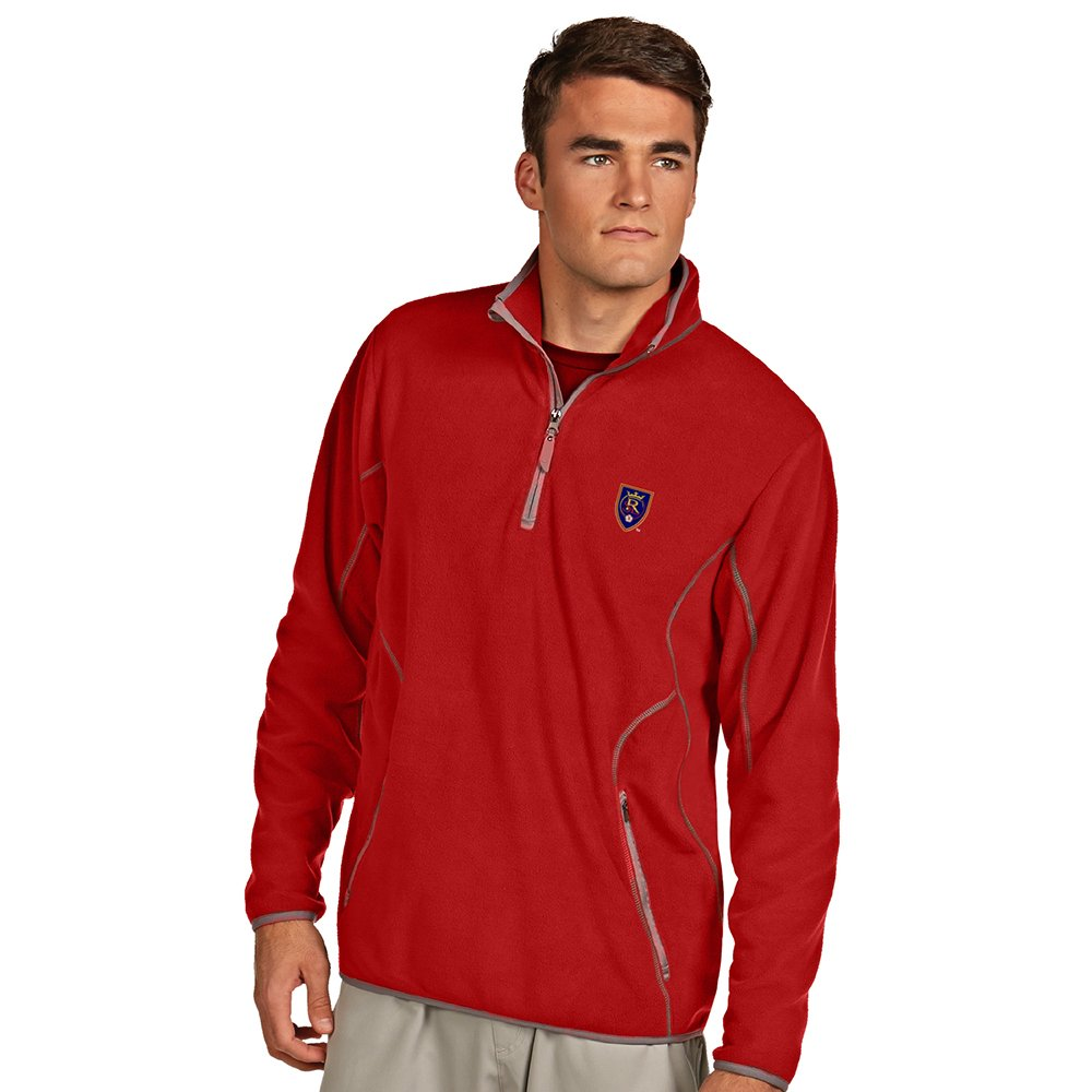 Real Salt Lake Mens Ice Polar Fleece Pullover Jacket - Dk Red - XXX-Large by Antigua