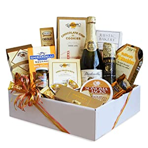 Gourmet Holiday Christmas Themed Gift Basket | Sparkling Cider, Meat, Cheese, Nuts, Chocolate and More