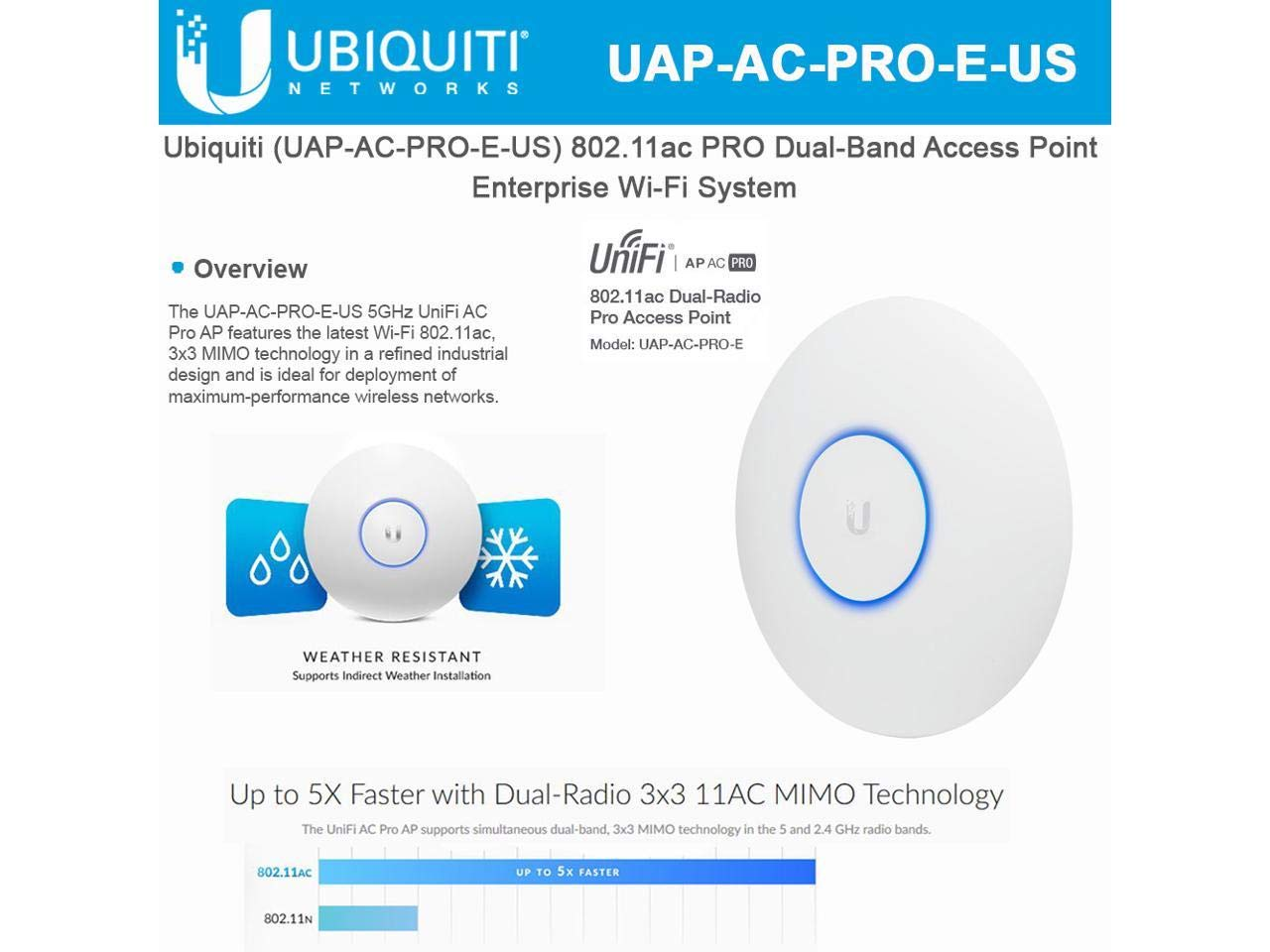 Ubiquiti UniFi AP AC PRO 802 11ac Scalable Enterprise Wi-Fi Access Point  (UAP-AC-PRO-E-US) PoE Adapter Sold Separately