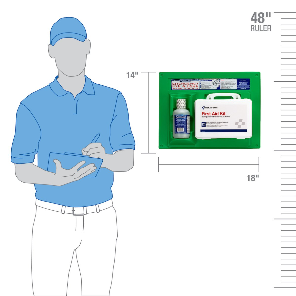 PhysiciansCare by First Aid Only by First Aid Only 24-500 160 Piece PhysiciansCare by First Aid Only by First Aid Only by First Aid Only First Aid Kit and 16 oz Eye Wash Station by First Aid Only