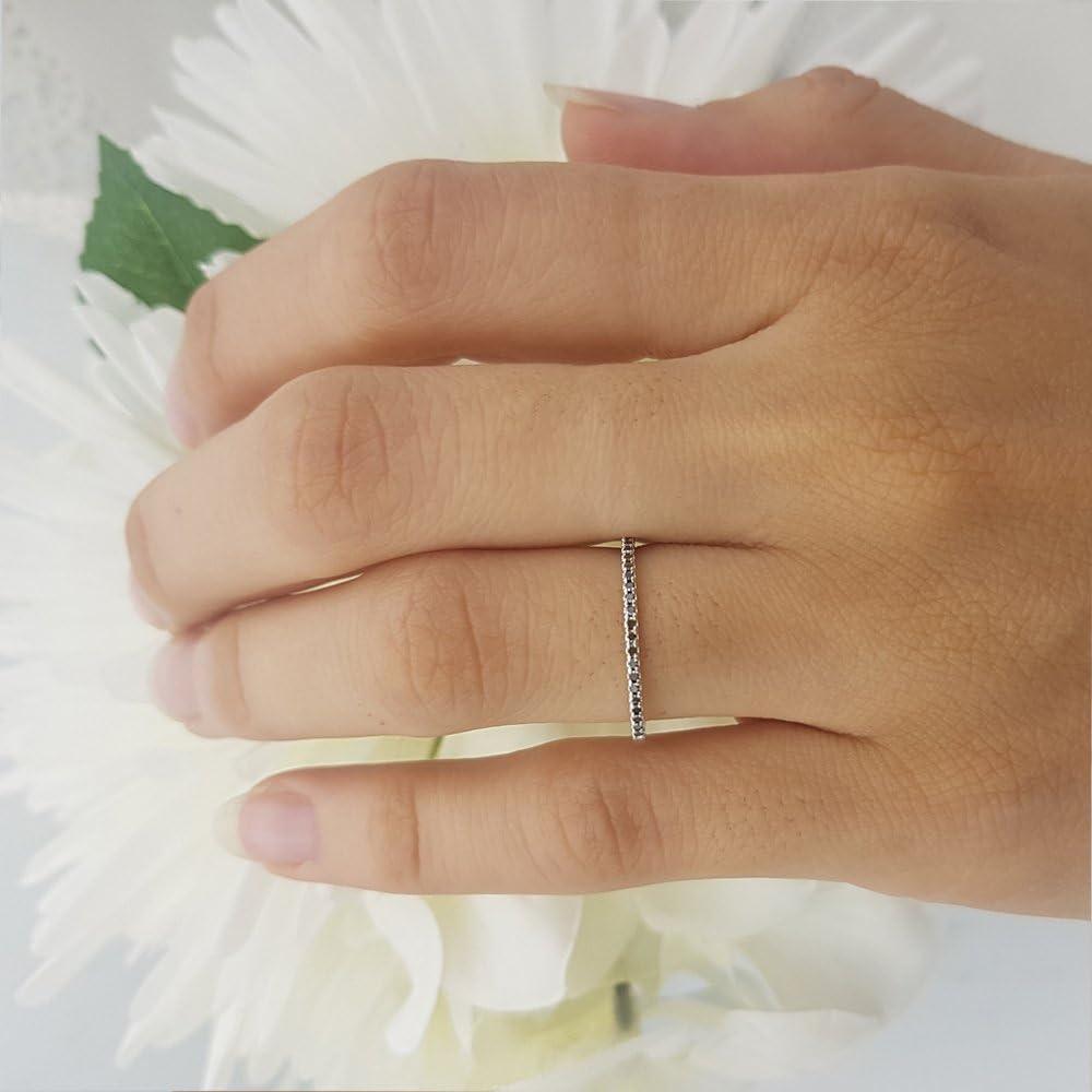 ctw 0.08 Carat 10k White Gold Round Black Diamond Ladies Dainty Anniversary Wedding Band Stackable Ring