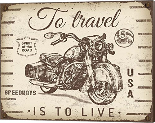 Vintage Motorcycle Mancave - A by Jean Plout Canvas Art Wall Picture, Museum Wrapped with Nutmeg Sides, 20 x 16 inches (Vintage Museum Motorcycle)