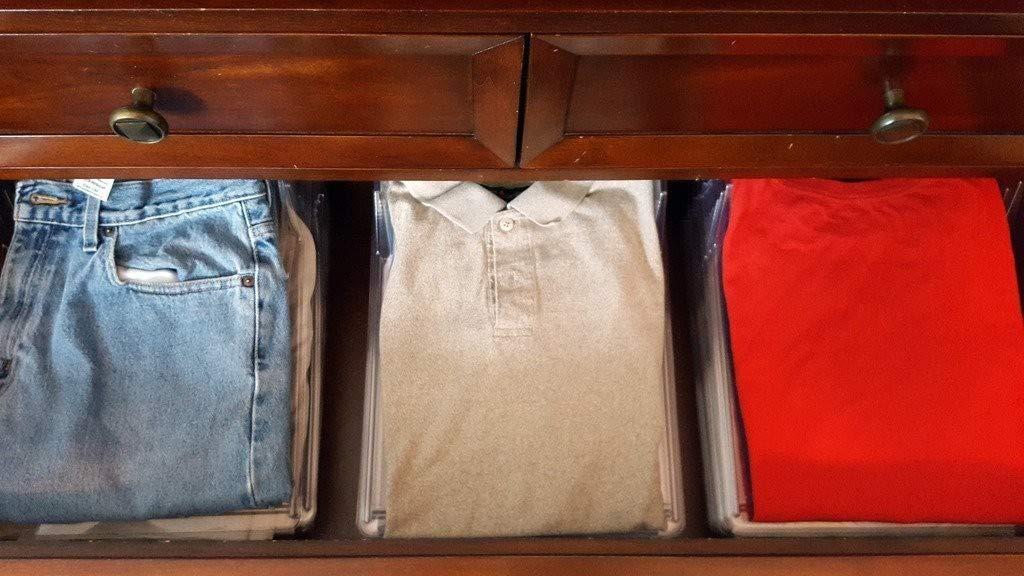 Tiempo Sistema para Ahorrar Espacio Plegable para Armario cajones Camiseta Camisas 10/Piezas
