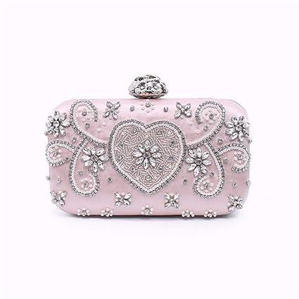 Glitter Pink Rhinestone de imitación de perlas bolso de embrague para el bolso de noche de