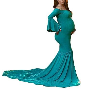 Kleider Damen Dasongff Mutterschaft Kleid Schulterfrei Kleider ...