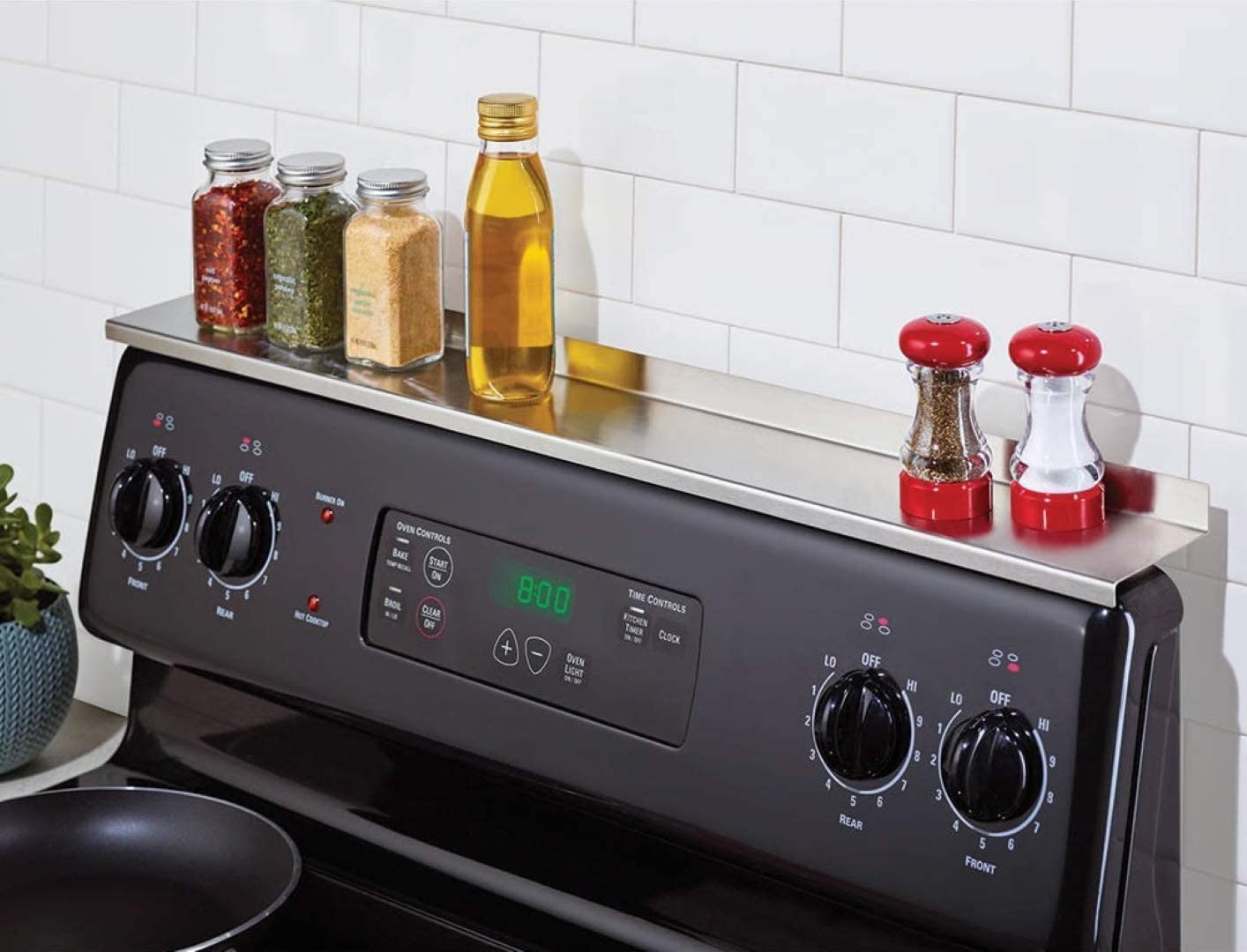 StoveShelf – Stainless Steel – 30 – Magnetic Shelf for Kitchen Stove, Spice Rack, Kitchen Storage Solution, Zero Installation