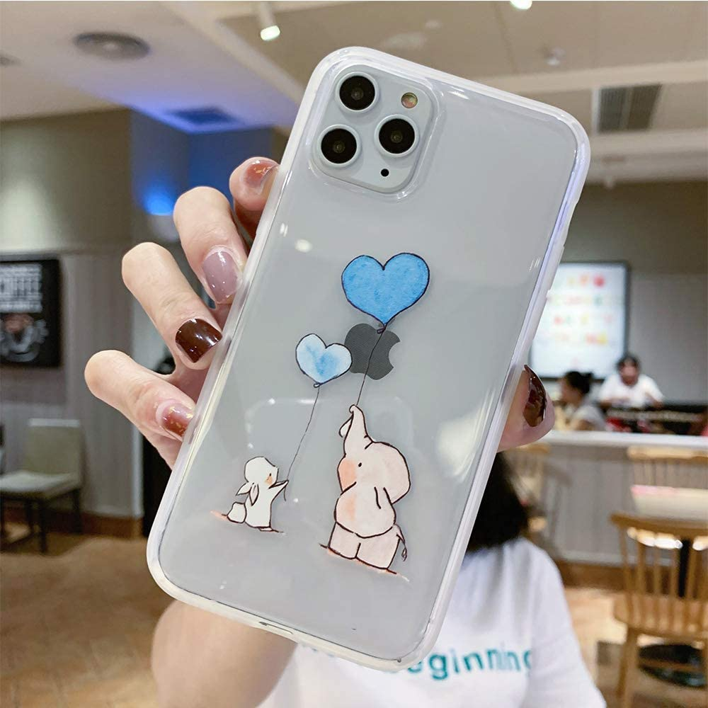 JICUIKE iPhone 11 Pro Case, Lovely Animal Rabbit Print Amusing Whimsical Design Clear Bumper TPU Soft Shell Rubber Silicone Skin Back Cover for iPhone 11 Pro Edition 5.8 Inch [Balloon Elephant]