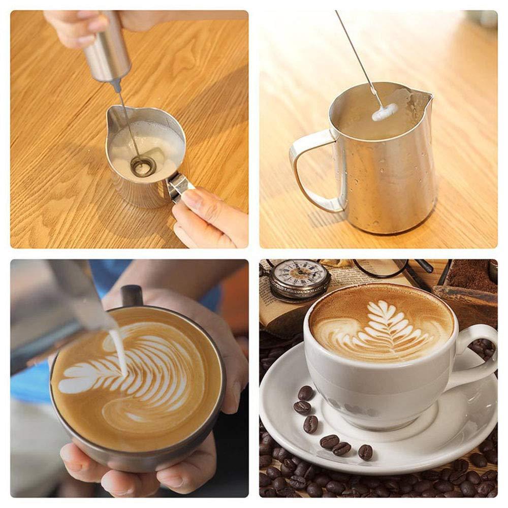 W&Z Batidor de Leche eléctrico de Mano Alimentado por batería Fabricante de Espuma Batidor de Huevo para café a Prueba de Balas Capuchino Latte Chocolate: ...