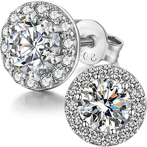 3. Sterling Silver Round Cubic Zirconia Stud Earrings