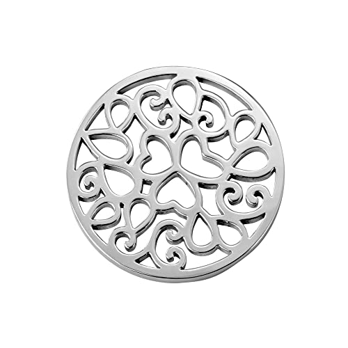 Quiges Womens Coin 33mm Silver Plated Stainless Steel and Glitter Stones in various Colours for Coin Lockets