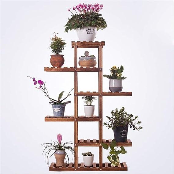 ZHAS Estante de Madera Vertical de Varios Pisos para jardín, Estante para Flores de Interior/Exterior, Estante para Maceta, decoración de balcón de Sala de Estar de 75 x 25 x 110 cm: