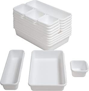 BYCY 18 Pcs White Drawer Organizers Trays Set Drawer Dividers for Kitchen Office Bathroom, Interlocking Bin Pack (18 Pieces)