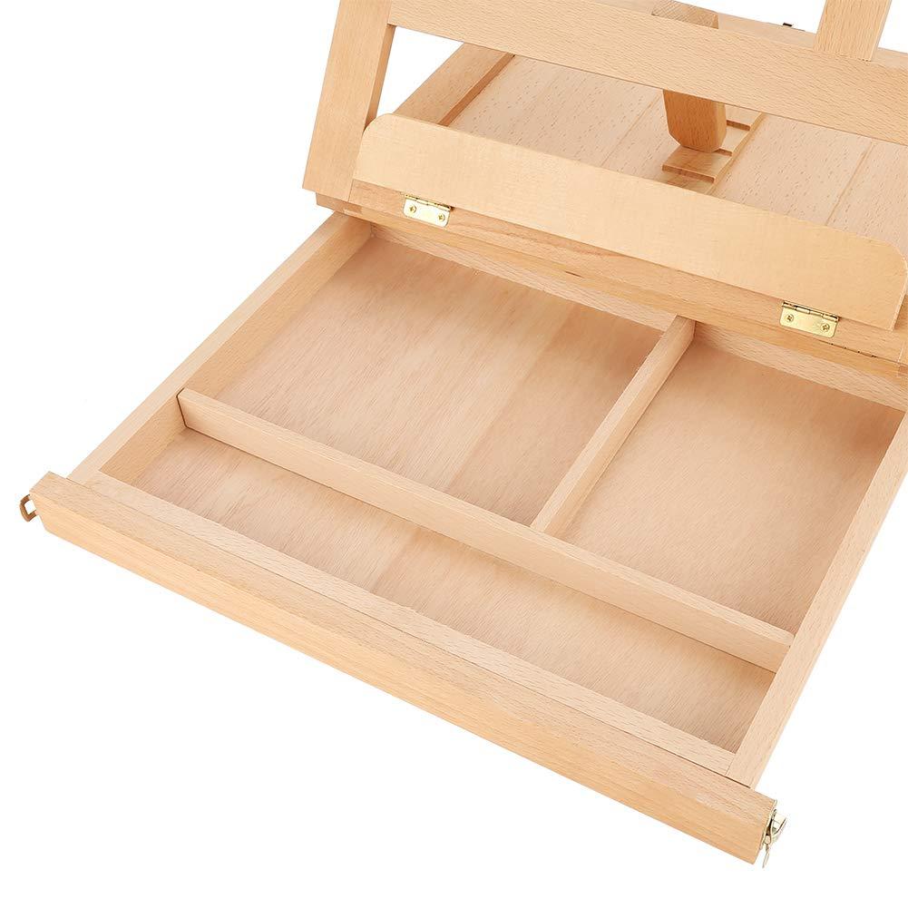 Holz Staffelei Box Hobby K/ünstler Staffelei 13.2 x 10.2 x 2.5 Zoll Tragbare Kofferstaffelei Justierbarer Winkel und faltendes Design mit Stauraum f/ür Mal-und Zeichen Utensilien